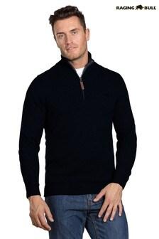 Raging Bull Black Knitted Cotton/Cashmere Quarter Zip Jumper
