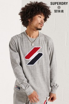 Superdry Grey Code Logo Chenille Long Sleeved Top