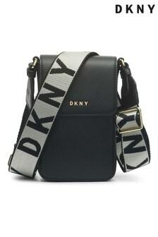 DKNY Black Winonna Leather Cross-Body Phone Case