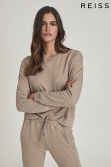 REISS Tan Piper Brushed Loungewear Sweatshirt