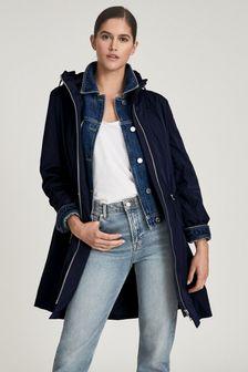 REISS Blue Mila Lightweight Parka Jacket