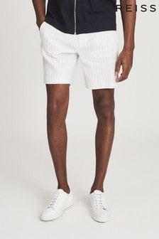 REISS Cream Lucas Cotton Blend Striped Shorts