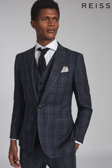 REISS Blue Oxsted Wool Slim Fit Checked Blazer