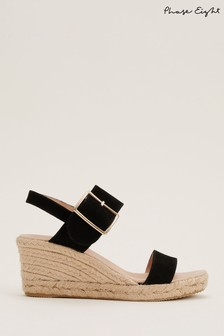 Phase Eight Black Hexa Buckle Strap Espadrilles