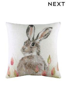 White Hedgerow Hare Cushion