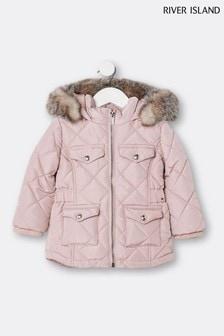 River Island Pink Light Matt Millie Padded Jacket