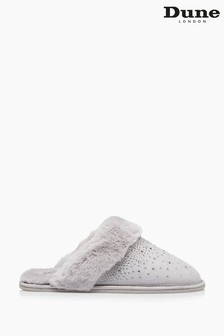 Dune London Grey Snoozes Warm Lined Mule Slippers