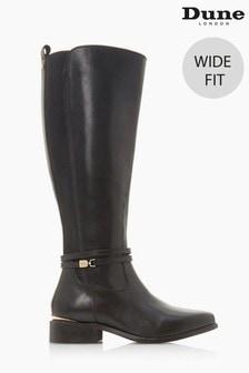 Dune London Black Traviss Wide Fit Knee High Boots