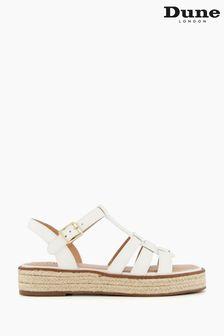 Dune London White Latch Espadrille Sole Sandals