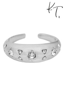 Kate Thornton Silver Cocktail Ring With Sparkling Celestial Details