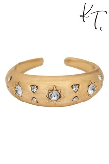 Kate Thornton Gold Cocktail Ring With Sparkling Celestial Details