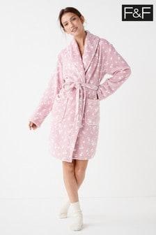 F&F Pink Multi Heart Robe