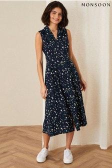 Monsoon Tracy Printed Jersey Midi Dress
