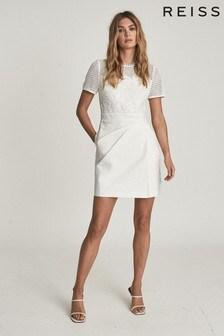 REISS Freyda Lace Detailed Mini Dress
