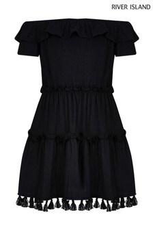 River Island Black Textured Bardot Dress