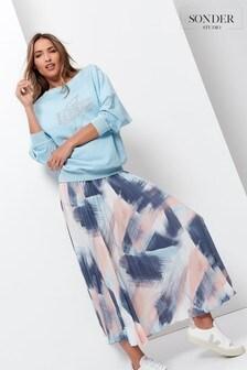 Sonder Studio Paintbrush Pleated Midi Skirt