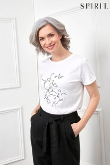 Spirit White Floral Embroidered Jersey Top