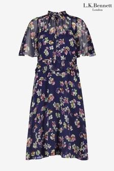 L.K.Bennett Blue Tate Spaced Daisies Print Gathered Dress