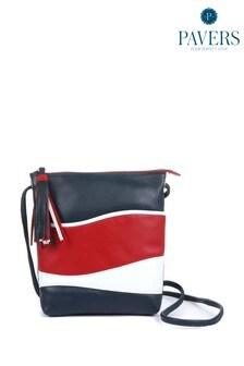 Pavers Ladies White Leather Cross-Body Bag