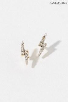 Accessorize Gold Vermeil White Topaz Bolt Stud Earrings