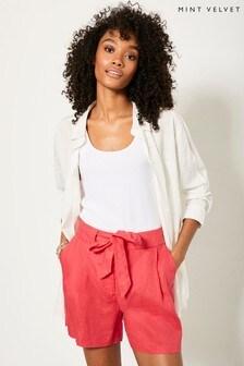 Mint Velvet Pink Linen Belted Shorts