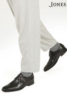 Jones Bootmaker Black Justin Men's Leather Single Strap Monk Shoes