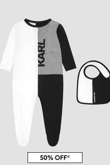 Karl Lagerfeld Baby Boys White Sleepsuit