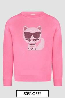 Karl Lagerfeld Girls Pink Sweat Top
