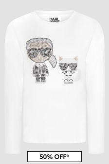 Karl Lagerfeld Girls White T-Shirt