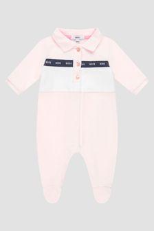 Boss Kidswear Baby Girls Pink Sleepsuit