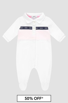 Boss Kidswear Baby Girls White Sleepsuit