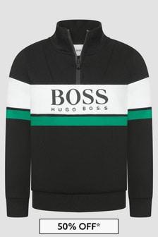 Boss Kidswear Boys Black Sweat Top