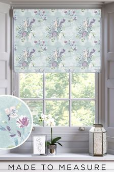 Vintage Bouquet Teal Green Made To Measure Roman Blind