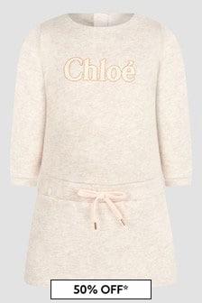 Chloe Kids Baby Girls Beige Dress