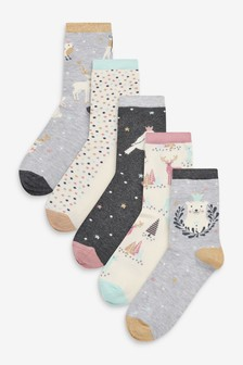 Winter Animals Patterned Ankle Socks 5 Pack