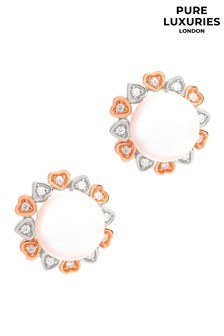 Pure Luxuries London Beaufort Rose Gold And Silver Freshwater Pearl Earrings