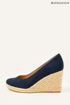 Monsoon Blue Elena Espadrille Wedge Shoes