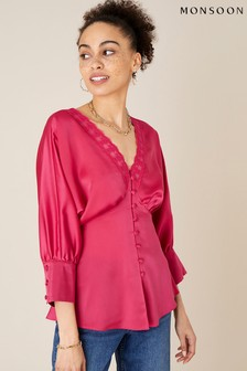 Monsoon Pink Chelsea Lace Trim Satin Top