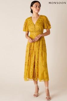 Monsoon Yellow Valerie Sequin Embroidered Tea Dress