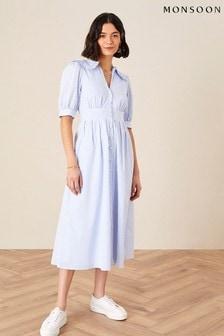 Monsoon Blue Frill Collar Stripe Poplin Dress