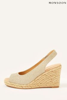 Monsoon Gold Sandy Shimmer Peep Toe Wedge Sandals