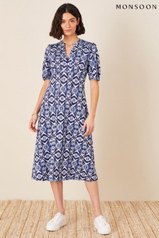 Monsoon Blue Ikat Printed Jersey Midi Dress