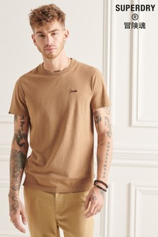 Superdry Men's Brown Organic Cotton Micro Embroidered T-Shirt