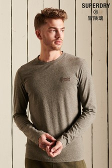 Superdry Brown Organic Cotton Vintage Logo Embroidered Top
