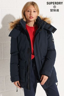 Superdry Women's Blue Code Everest Parka Coat