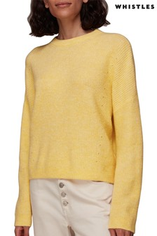 Whistles Yellow Ribbed Crew Neck Jumper