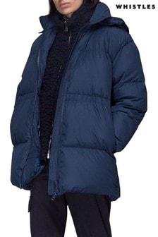 Whistles Blue Esme Hooded Down Puffer Coat