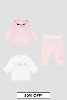 Boss Kidswear Baby Girls Pink Tracksuit
