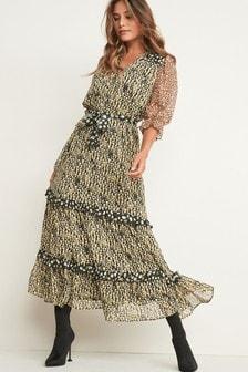 Print Tier Midi Dress