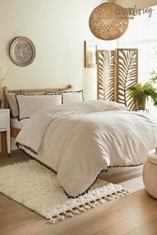 Cosmo Living Natural Tassel Duvet Cover and Pillowcase Set